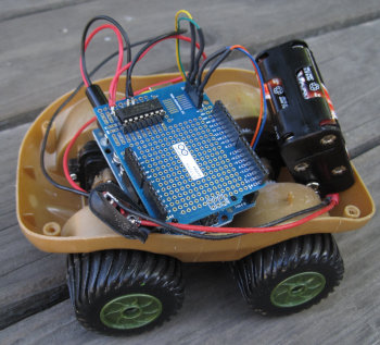[Car sporting super cheap Arduino motor shield]
