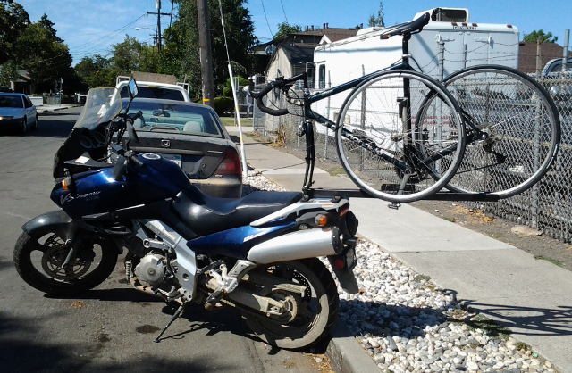 [Motorcycle with a bike rack]