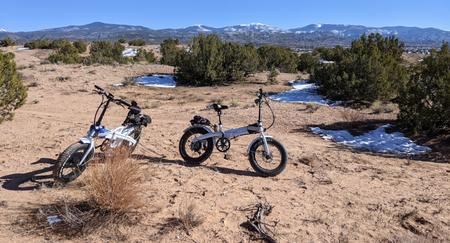 [Lectric XP ebike in the Nambe Badlands]