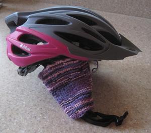 [Bike helmet knitted ear-warmers]