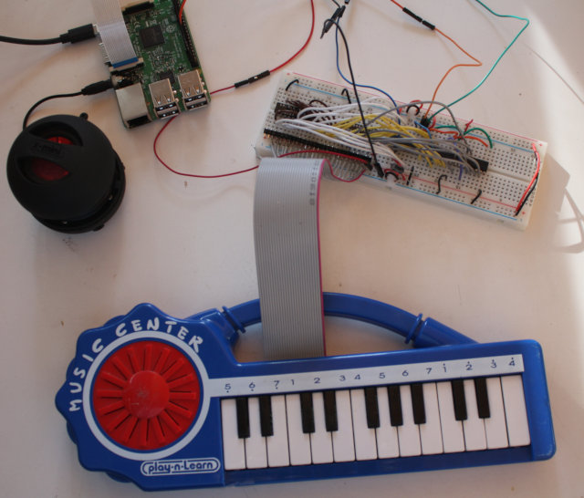 [23-key keyboard wired to a Raspberry Pi]