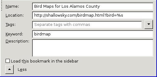 [Firefox bookmarks dialog showing keyword]