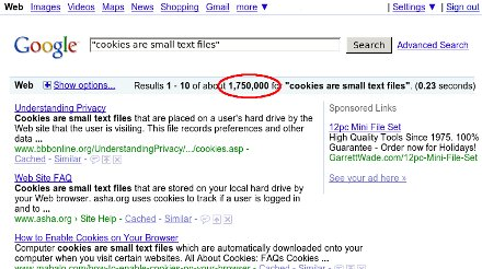 1,750,000 hits for 'Cookies are small text files'
