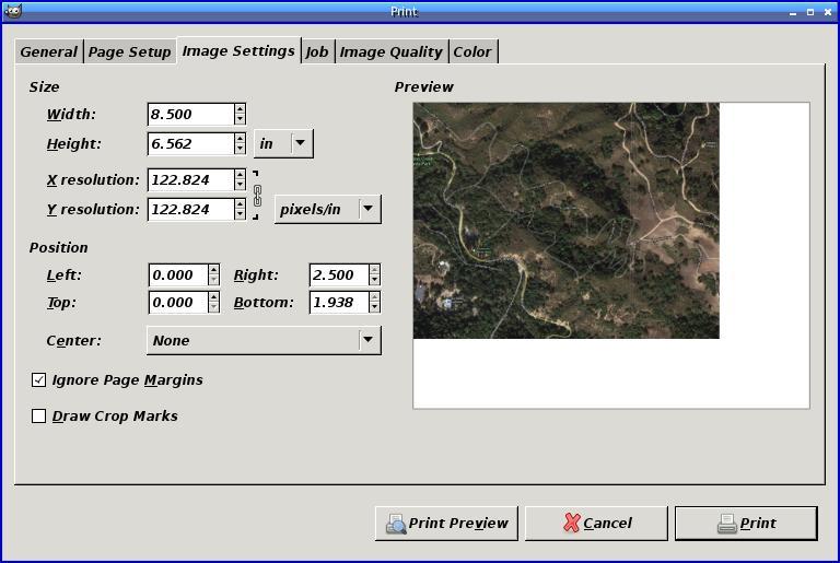 [GIMP printing dialog]