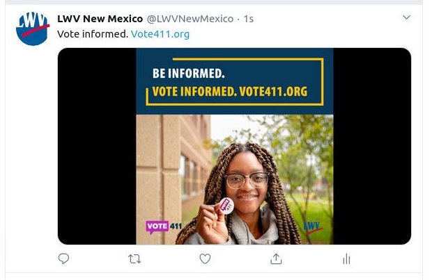 [LWVNM tweet of a Vote411 image]
