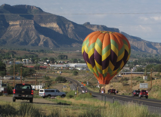 [Hot-air balloon landing in the road in Cortez, CO]