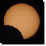 [early stage of annular eclipse 2012, showing sunspots]