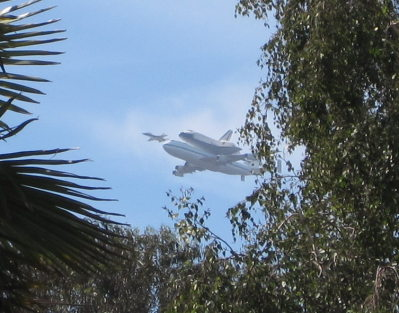 [Space shuttle Endeavour flyby]