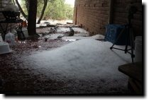 {Pile of hailstones on our deck}