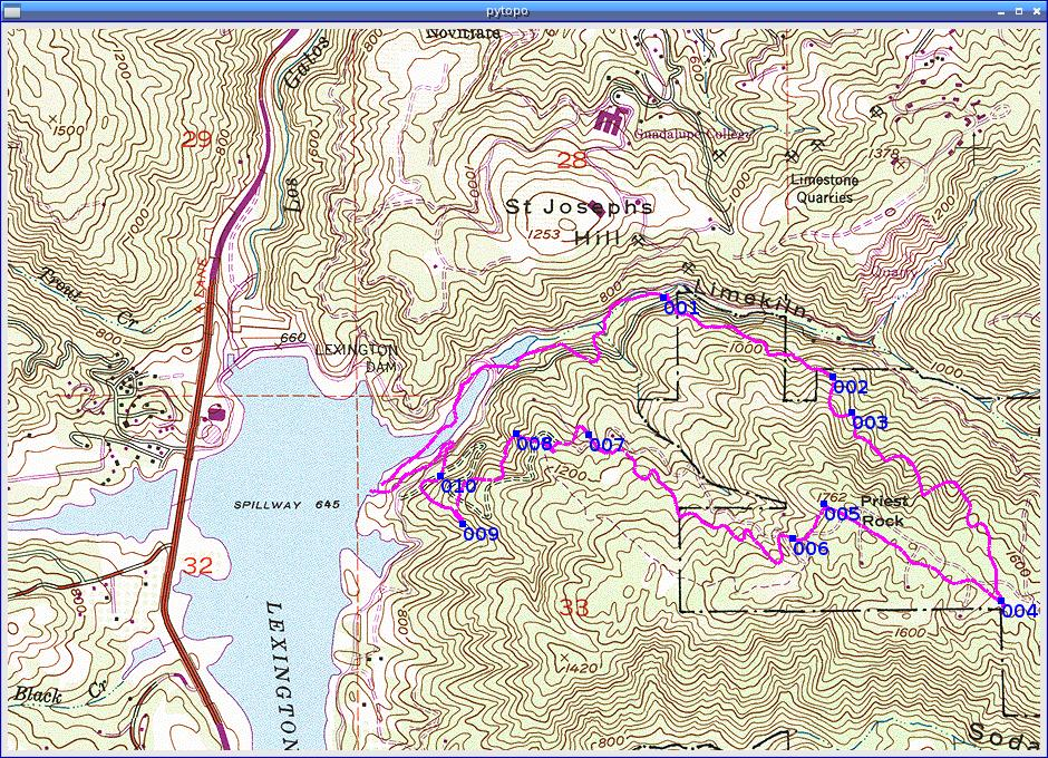 Tacklogs And Waypoints From A Garmin Gps Above Lexington Reservoir Near Los Gatos Ca Using Usgs Topo Topographic Maps